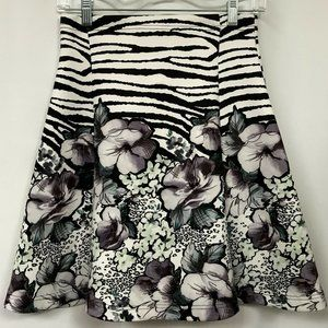 MILANO  Animal Floral Print Pull-On Flare Skirt